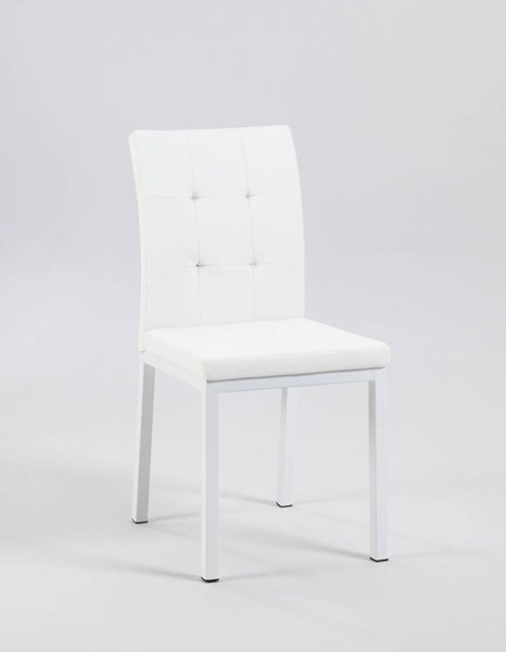 2 Roberta White PU Tufted Back Upholstered Side Chairs CHF-ROBERTA-SC-WHT