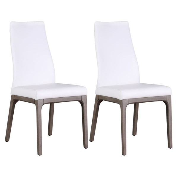 2 Chintaly Imports Rosario Gray White PU Upholstered Side Chairs CHF-ROSARIO-SC-GRY-WHT