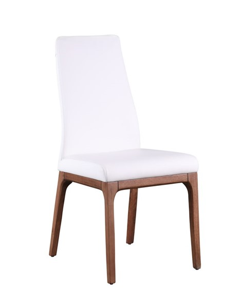 2 Chintaly Imports Rosario Walnut White PU Upholstered Side Chairs CHF-ROSARIO-SC-WAL-WHT