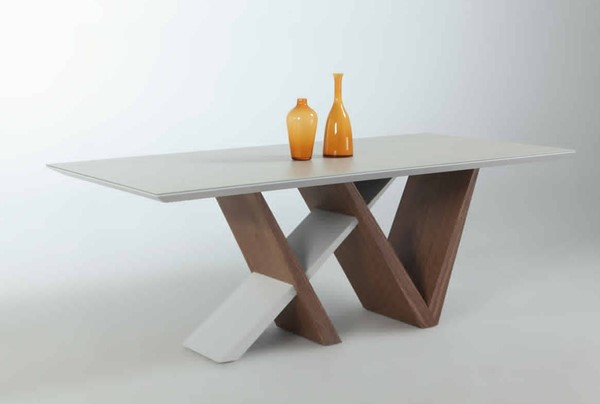 Ruby Frosted Grey Wooden Top w/Frosted Glass CHF-RUBY-DT-T