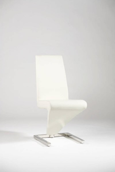 2 Sabrina White PVC Stainless Steel Z - Frame Upholstered Side Chairs CHF-SABRINA-SC-WHT