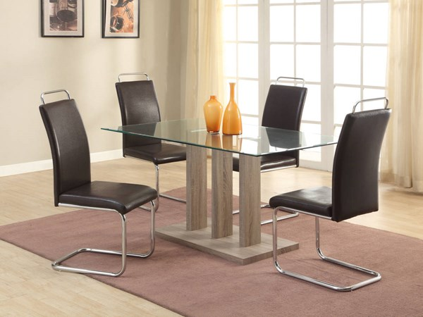 Salma Contemporary Gray Wash Brown Wood Glass PU Dining Room Set CHF-SALMA-DR