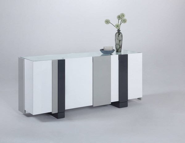 Shelley Modern Gloss White Grey Four-Door Buffet Body CHF-SHELLEY-BUF-B