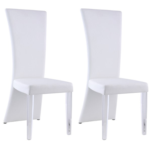 2 Chintaly Imports Siena Clear White Curved High Back Side Chairs CHF-SIENA-SC-WHT