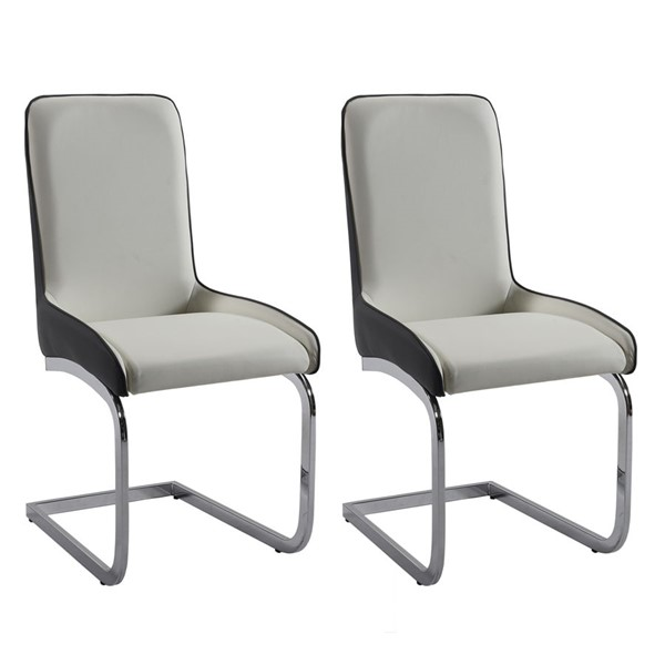 2 Chintaly Imports Stella Gray White Gloss Two Tone Brewer Chairs CHF-STELLA-SC-2TONE