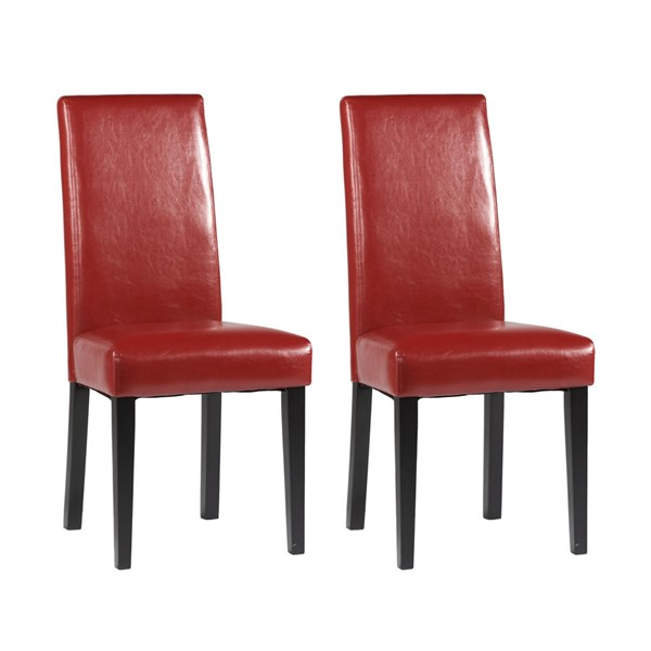 2 Chintaly Imports Red Straight Back Parson Chairs CHF-STRGT-BCK-PRS-SC-RED