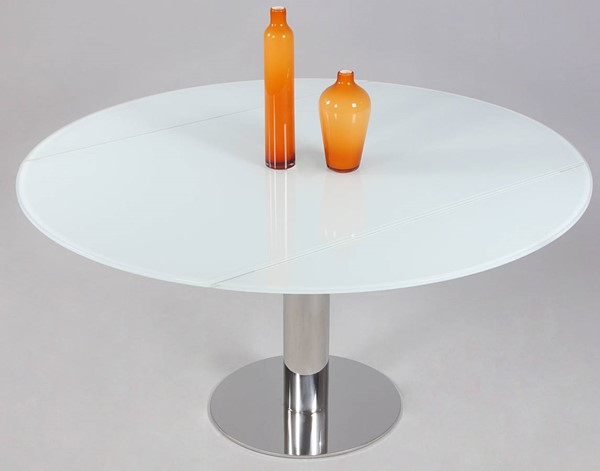 Tami White Stainless Steel Glass Dining Table CHF-TAMI-DT-CRM-TB