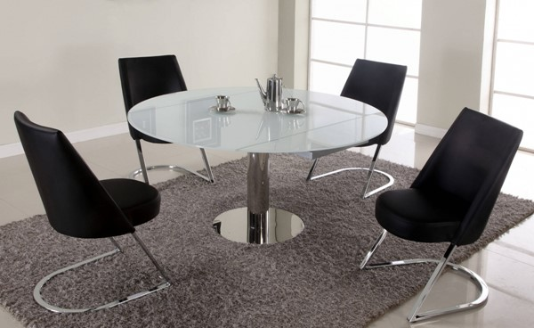 Tami White Black Stainless Steel Glass PU Dining Room Set CHF-TAMI-DR
