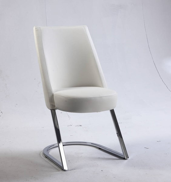 2 Tami White PU Slight Concave Back Side Chairs CHF-TAMI-SC-WHT
