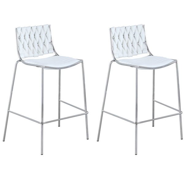 2 Chintaly Imports Taylor White Faux Leather Polished Stainless Steel Stackable Counter Stools CHF-TAYLOR-CS-WHT