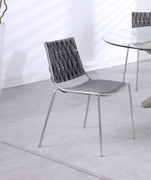 4 Chintaly Imports Taylor Polished Stainless Steel Gray Faux Leather Stackable Side Chairs CHF-TAYLOR-SC-GRY