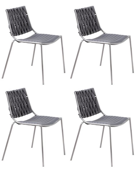 4 Chintaly Imports Taylor Polished Gray Stackable Side Chairs CHF-TAYLOR-SC-GRY