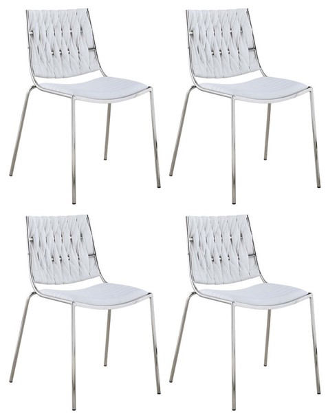 4 Chintaly Imports Taylor Polished Stainless Steel White Faux Leather Stackable Side Chairs CHF-TAYLOR-SC-WHT