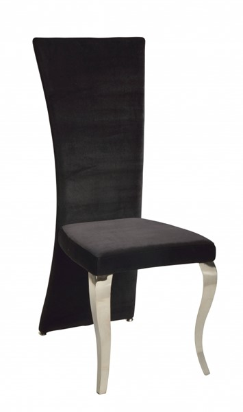2 Chintaly Imports Teresa Black High Back Side Chairs CHF-TERESA-SC-RCT-BLK