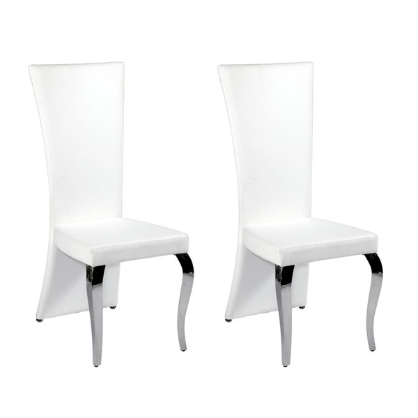 2 Chintaly Imports Teresa White High Back Side Chairs CHF-TERESA-SC-RCT-WHT