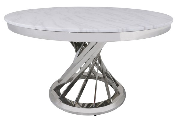 Chintaly Imports Tiffany White Marble Dining Table CHF-TIFFANY-DT