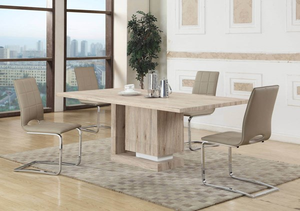 Tiffany Light Oak Beige PU Dining Room Set CHF-TIFFANY-DR