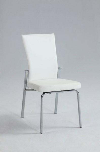 2 Molly Modern Chrome White PU Metal Motion Back Side Chairs CHF-MOLLY-SC-WHT