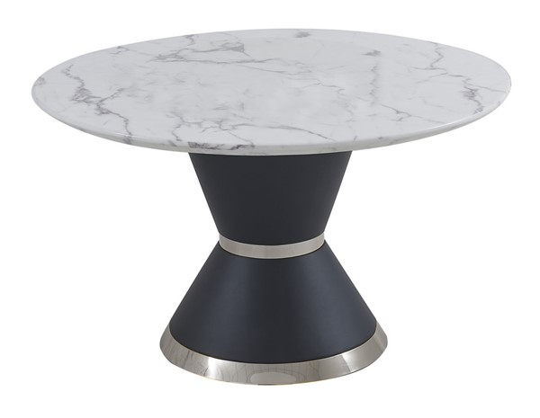 Chintaly Imports Tori Contemporary Round White Marble Dining Table CHF-TORI-DT