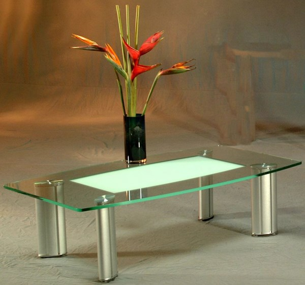 Silver Glass Metal Coffee Table Set W/Legs CHF-TRACY-CT