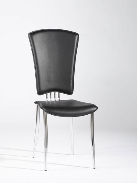 6 Tracy Contemporary Black PVC Side Chairs CHF-TRACY-SC-BLK