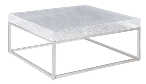 Chintaly Imports Valerie Clear Polished Stainless Steel Square Cocktail Table CHF-VALERIE-CT-SQ