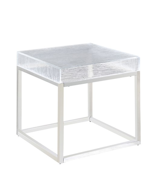 Chintaly Imports Valerie Clear Polished Stainless Steel Lamp Table CHF-VALERIE-LT