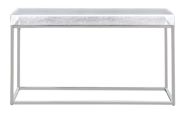 Chintaly Imports Valerie Clear Polished Stainless Steel Sofa Table CHF-VALERIE-ST