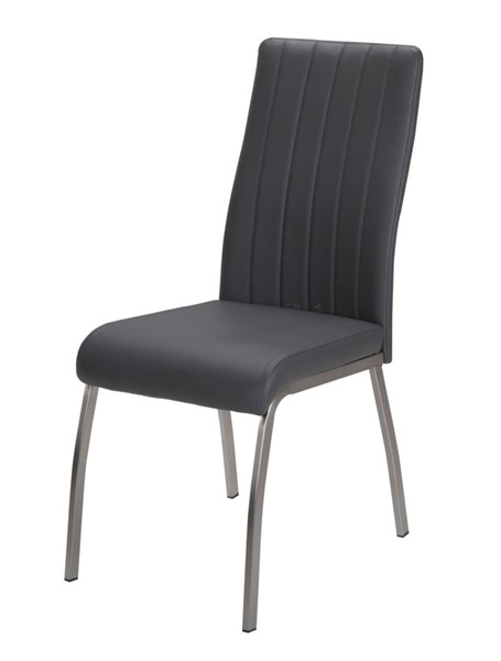 2 Chintaly Imports Vanessa Chrome Gray Side Chairs CHF-VANESSA-SC-GRY