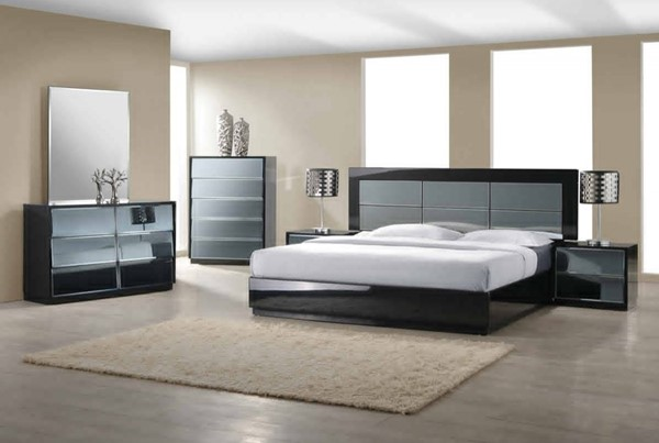 Venice Modern High Gloss Black Wood 2pc Bedroom Sets CHF-VENICE-BR-S