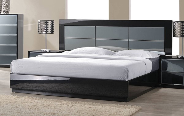 Venice High Gloss Black Queen Bed Footboard & Side Rails CHF-VENICE-BED-QN-FBSR