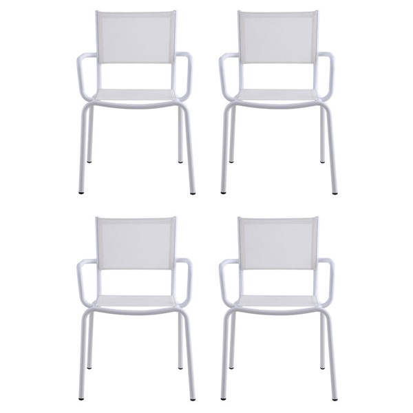 4 Chintaly Imports Ventura Matte White Outdoor Arm Chairs CHF-VENTURA-AC-WHT