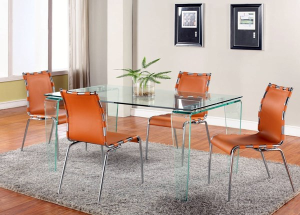 Vera Camel Glass Leather 5pc Dining Room Set w/Camel Chair CHF-VERA-DT-S2