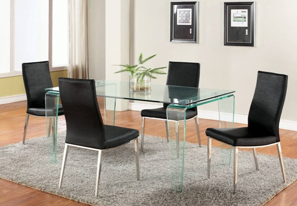 Vera Modern Glass Leather Dining Room Sets CHF-VERA-DT-S