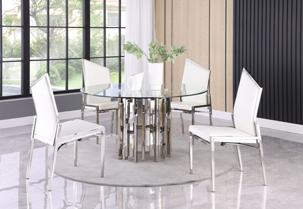 Chintaly Imports White 5pc Dining Room Set With Motion Chairs CHF-VERONA-NALA-5PC