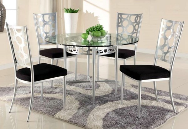 Veronica Modern Glass Metal Round Dining Table CHF-VERONICA-DT-TB