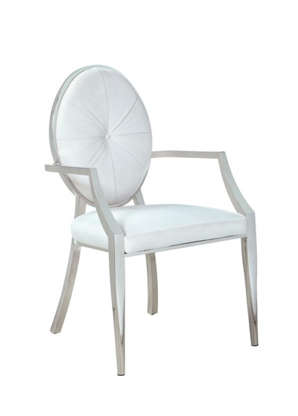 2 Chintaly Imports Victoria Polished Stainless Steel Round Button Tufted Back Arm Chairs CHF-VICTORIA-AC-WHT