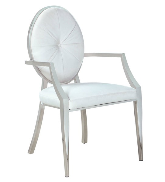 2 Chintaly Imports Victoria Polished Stainless Steel Tufted Back Arm Chairs CHF-VICTORIA-AC-WHT