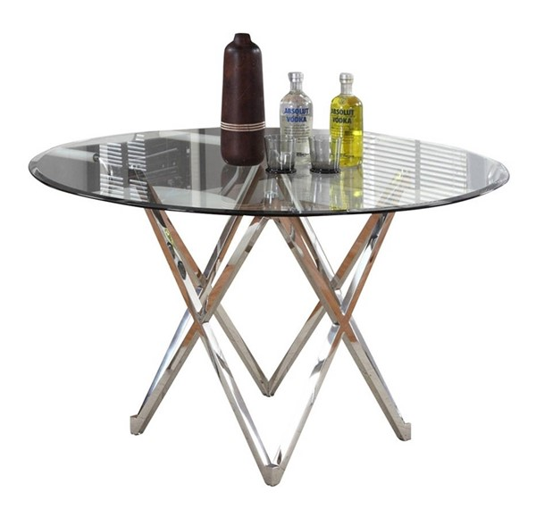 Chintaly Imports Vivian Clear Chrome Dining Table CHF-VIVIAN-DT-GL4810