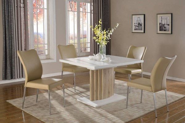 Wendy White Oak Wood Grey PU Dining Room Set CHF-WENDY-DR