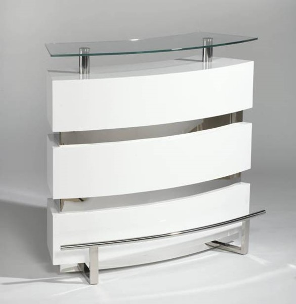 Chintaly Imports Xenia Gloss White Bar Table CHF-XENIA-BAR-WHT