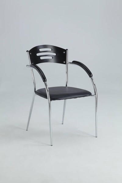 4 Yolanda Black PVC Solid Rubber Wood Side Chairs CHF-YOLANDA-AC-BLK