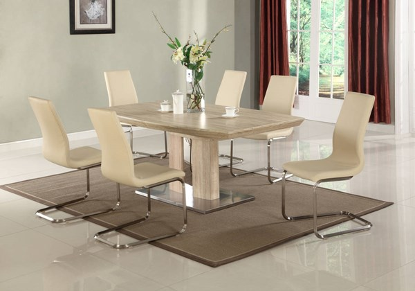 Zoey Light Oak Wood PU 7pc Dining Room Set w/Beige Chair CHF-ZOEY-DR-S1