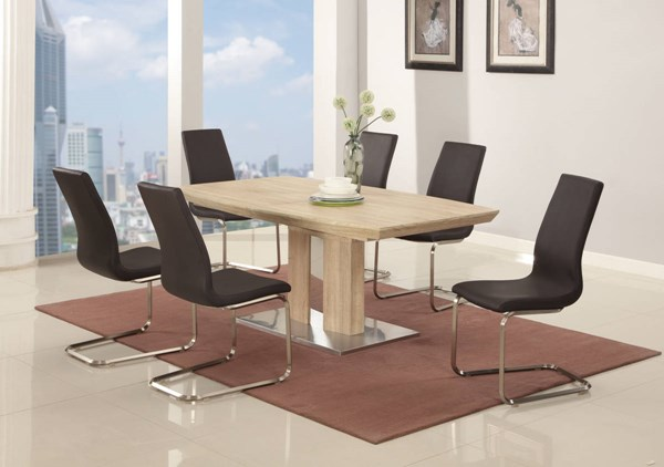 Zoey Light Oak Wood PU 7pc Dining Room Set w/Brown Chair CHF-ZOEY-DR-S2