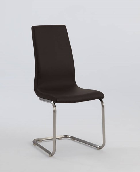 2 Zoey Brown PU Cantilever High Back Side Chairs CHF-ZOEY-SC-BRW