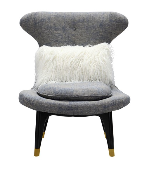 Chic Home Chateau Modern Blue Fabric Accent Club Chair with 1 Faux Fur Pillow CHIC-FAC9139-CE