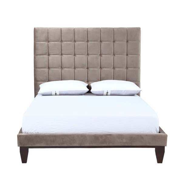 Chic Home Beethoven Taupe Velvet Queen Bed Frame with Button Tufted Headboard CHIC-FBD9152-CE