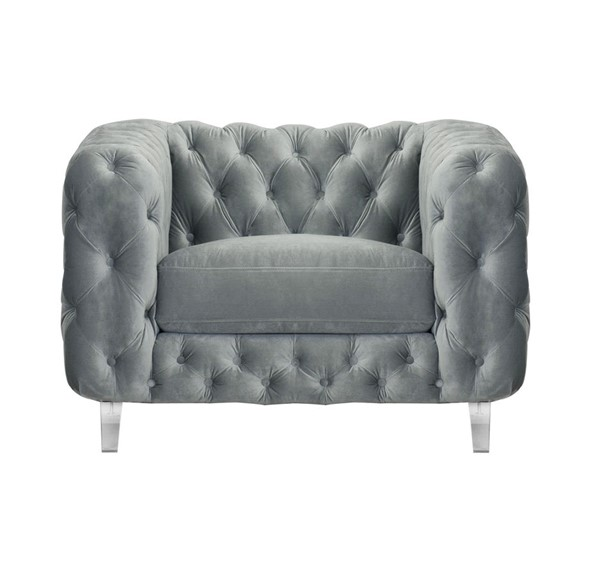Chic Home Syracus Grey Velvet Tufted Back Club Chair CHIC-FCC2651-CE