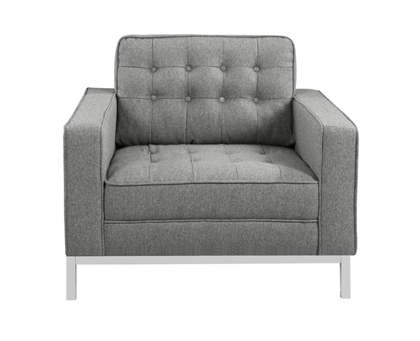 Chic Home Draper Grey Fabric Button Tufted Club Chair CHIC-FCC2939-CE