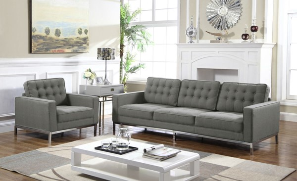 Chic Home Draper Grey Fabric Button Tufted Sofa and Club Chair Set CHIC-FCC293-LR-S1